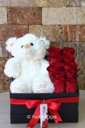 10 red roses into a black box and prepared with plush teddy bear designs will be enough to express whats on your heart. Note: Bear color varies according to the type and number of stock status.  Approximate Product Dimensions : 40 cm