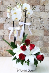 White orchids with white lilies next to the double-stranded and prepared arrangement of red roses with a lively show your love.