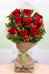 9 Piece loved ones with special and memorable Imported Red Rose Bouquet Prepared to Send a Gift.