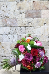 What do you think of a very nice and meaningful bouquet of wonderful designs of pink, purple, red, orange and lilac roses?