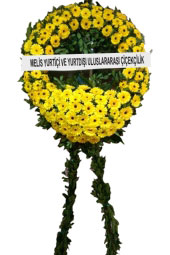 Funeral Ceremonies Wreath of yellow flowers