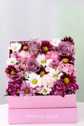 Pink box, mini orchids, wild design will be enough to please your loved ones prepared with flowers and plush.