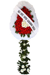 Red and White Gerbera Daisies Single Leg roundabout Cart